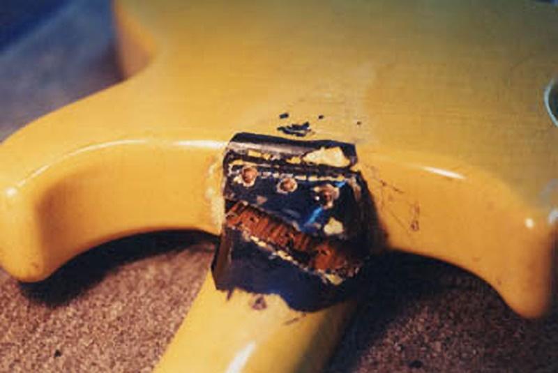 Broken heel of vintage guitar