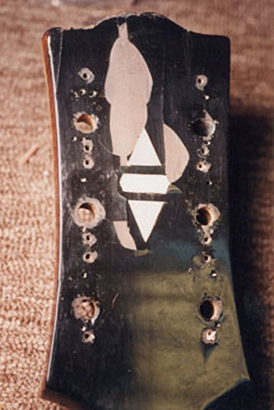 The finish on the headstock starts chipping off
