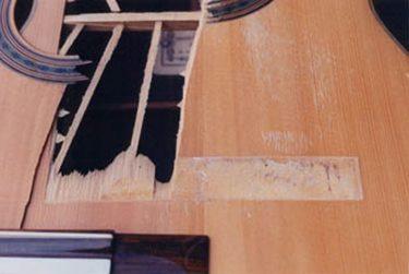 Restoring damaged top of Daniel Friederich classical guitar