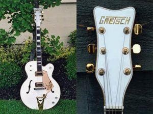 Repaired headstock of the vintage White Falcon