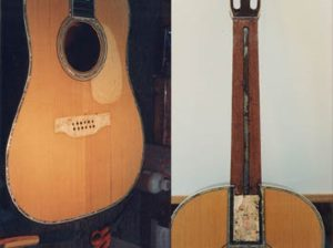 The original bridge and fretboard of Martin D45 were saved for reuse