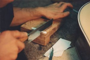 image of cutting a new shell