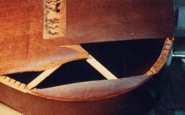 Broken mahogany top of Guild guitar