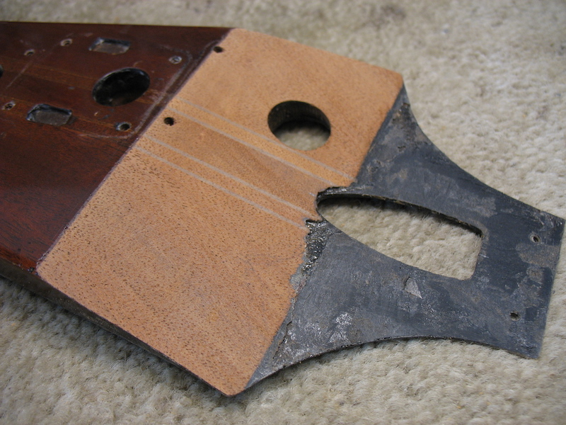The headstock prepaired for gluing