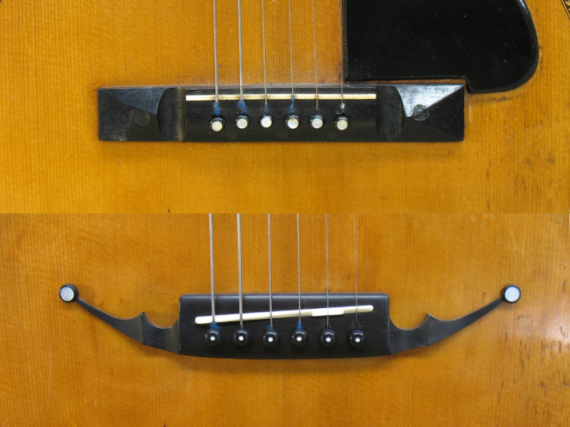 Parlour guitar bridge and top restoration - before and after
