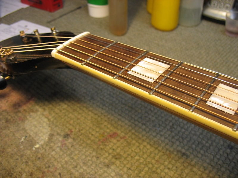 The Gretsch neck with new bindings, frets, and inlays