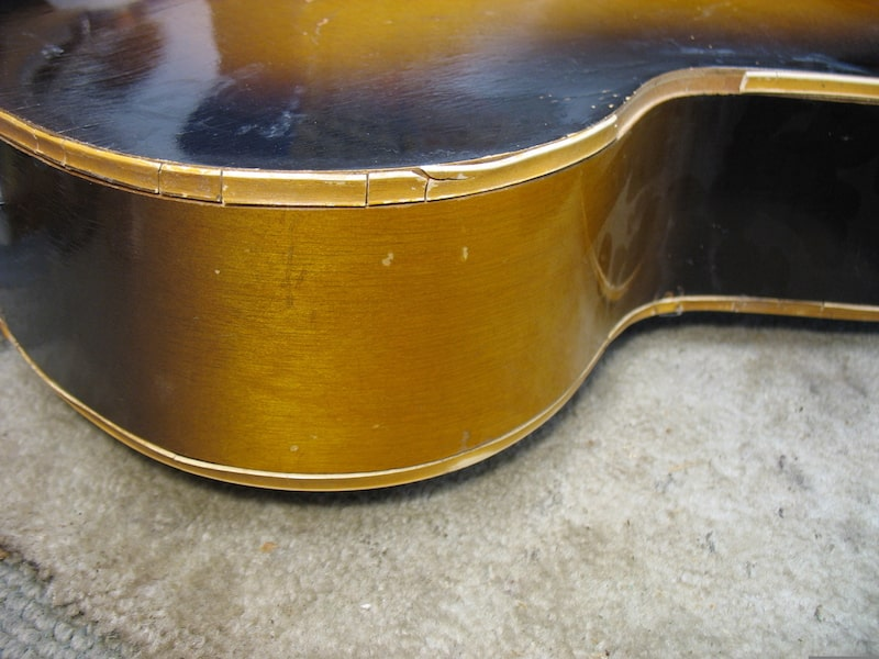 Bindings of the Gretsch body deteriorated over time